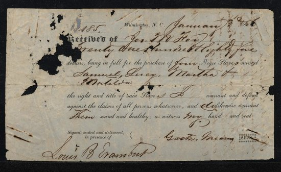 Foy Household Slave Receipt - Picture of Poplar Grove ...