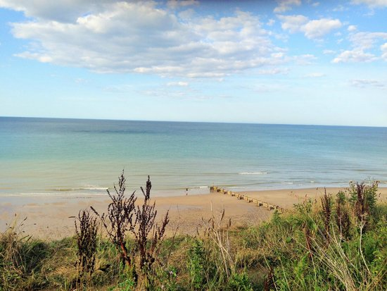 Overstrand Campsite: View east of beach from tent