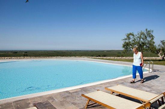 Lama di Luna - Biomasseria : Der schöne große Pool mit Blick auf die Olivenhaine