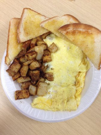 Sandwich Works: Sausage and cheese omelet with home fries and toast! Best way to start my day!!