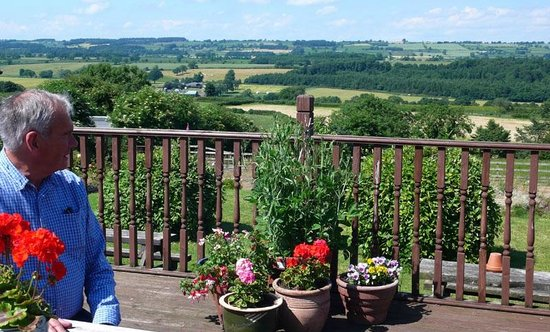 The Queens Head: view from the terrace at Finghall