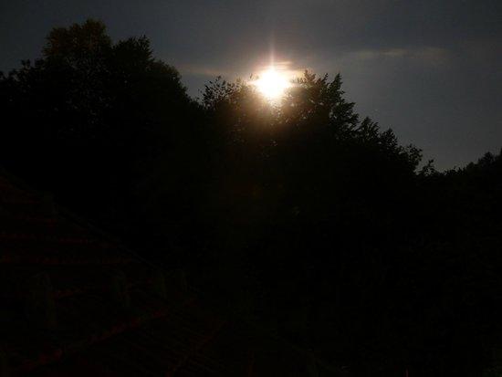 Silenzio e Buio: questa la luna che spunta tra le cime degli alberi, dal balconcino  della camera
