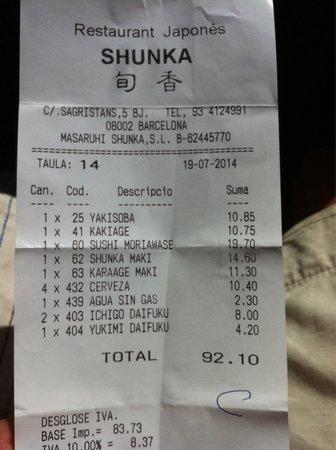Shunka : Estaba bueno, pero un poco caro...