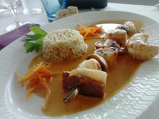 Breiz Azmor: Entrée : Brochette de Saint Jacques et son riz saux écrevisses
