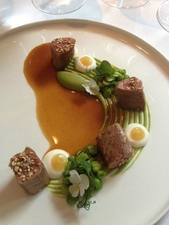 The Greenhouse: Welsh Organic Lamb Rhug Estate, with pea puree, yoghurt and estrog