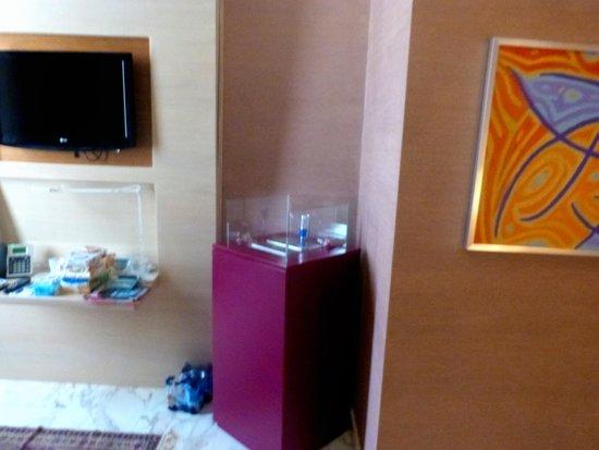 Dharma Hotel & Luxury Suites: Kühlschrank und Safe
