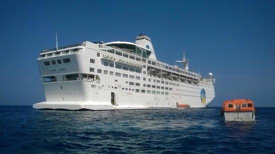 Playa de Palma: ship at sea at Calvi, Corsica