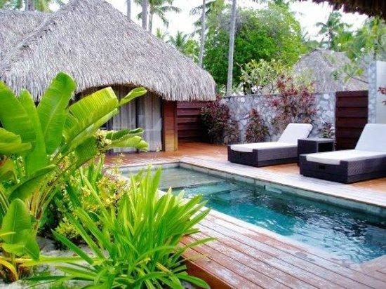 Hotel Kia Ora Resort & Spa : Vue jardin du bungalow Suite junior avec piscine