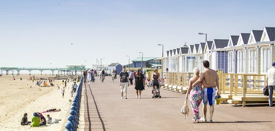 St. Annes Beach Huts: A view of the Beachhuts during the day