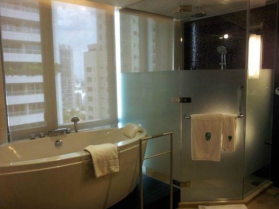Banyan Tree Bangkok: lovely bath and shower with view