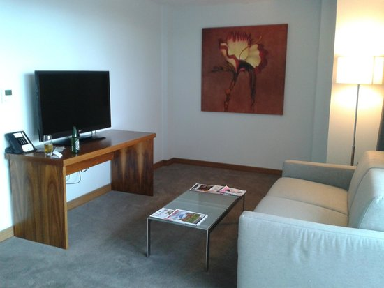 DoubleTree by Hilton Lincoln: living area with lg flatscreen tv