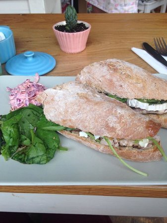 Delicious: Goats Cheese and roast chicken baguette with Onion Chutney