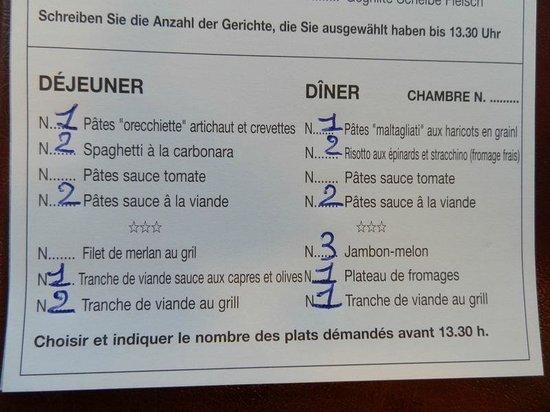 Hotel Albatros: menu