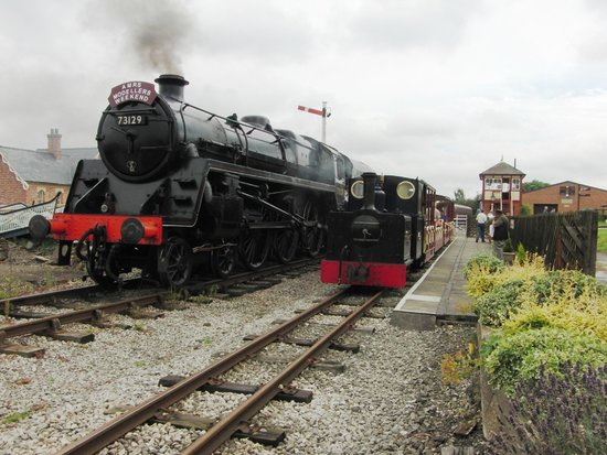 Midland Railway - Butterley: Standard and narrow gauge steam locomotives stand side by side