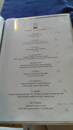 menu picture of soul fish restaurant sorrento