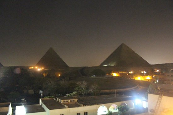 Memphis Tours: First look at the Pyramids, 11 PM, from Pyramids View Inn roof