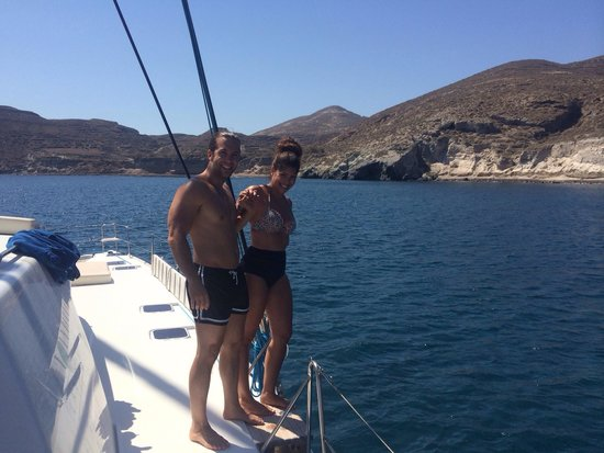 Sunset Oia Sailing Cruises: Getting ready to jump!