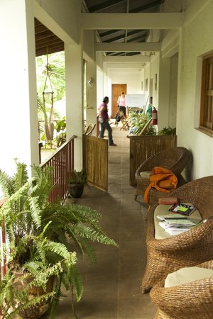La Mariposa Spanish School and Eco Hotel: Hallway on second floor with chairs and tables for teachings, reading and relaxing.
