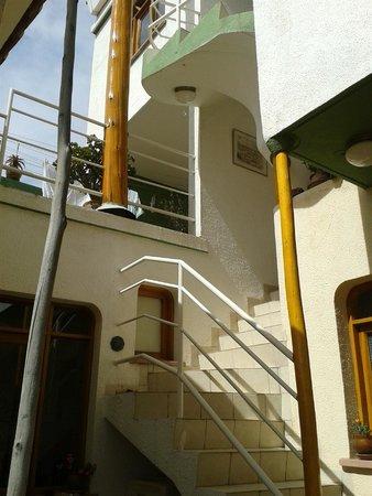 Casa AL Tronco: Escalera desde el patio