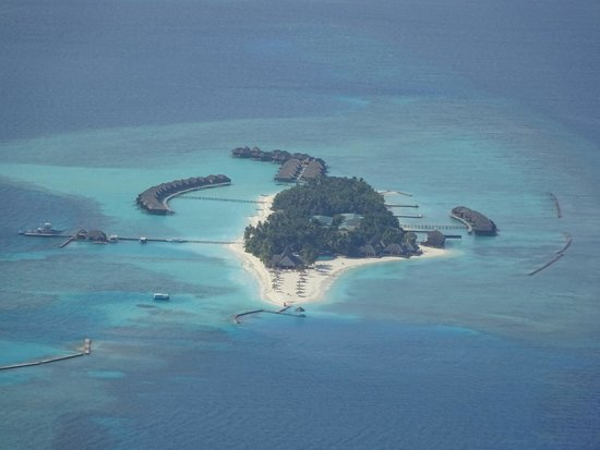 Veligandu Island Resort & Spa: island from seaplane