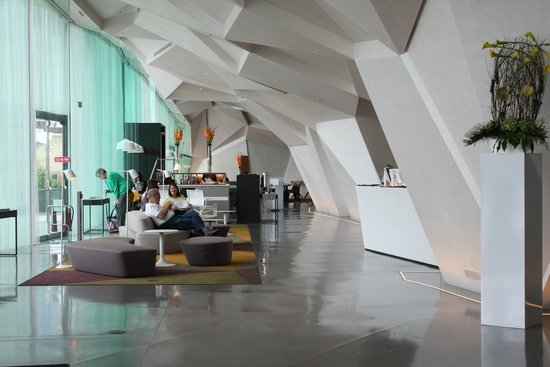 The Marker Hotel: Lobby Check-in area; restaurant/breakfast at end of room