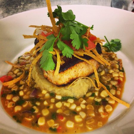 Parc Bistro : Harpoon Swordfish loin with bourbon brown sugar mashed sweet potatoes and a southwest corn salsa
