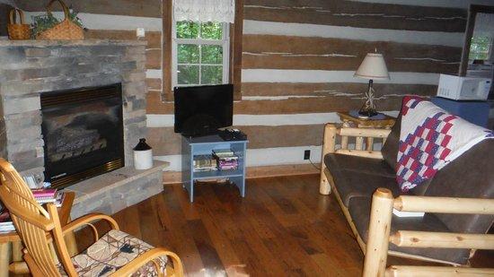 Hocking Hills Frontier Log Cabins : LIVING ROOM