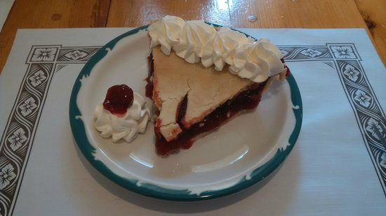 Sherbrooke Village : Cherry Pie and Whipped Cream from the on-site restaurant.