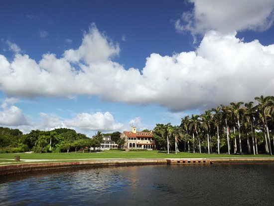 Deering Estate: View of historic homes from Biscayne Bay