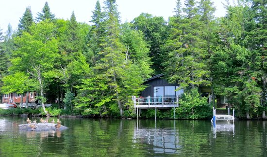 Tall Timber Lodge : View of Mallard Rock cabin (the one with the deck)  from the lake