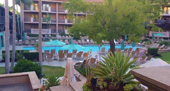 The Langham Huntington, Pasadena, Los Angeles: pool view from terrace restaurant