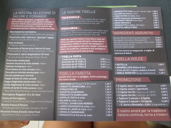 Pésaro, Italia: Menù