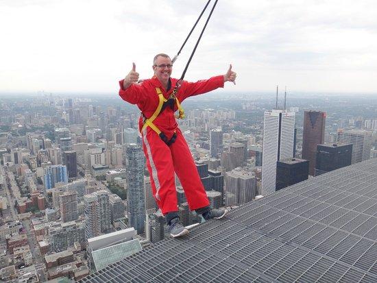 Edge Walk at the CN Tower: Me doing the hang ten...lol