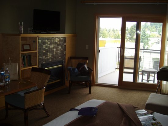 Friday Harbor House : Second seating area, fireplace, and patio.