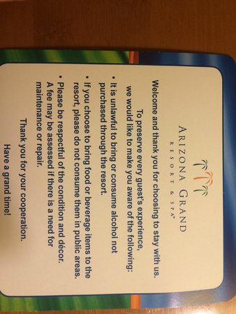 Arizona Grand Resort & Spa: rules for the room