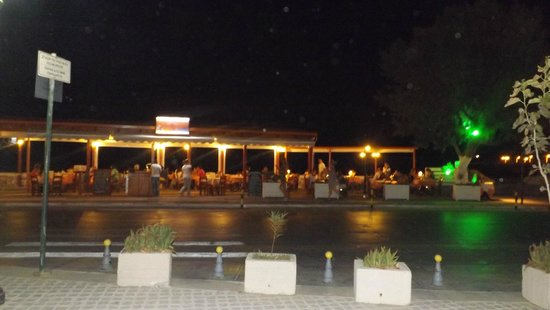 Ideon Hotel : Front of hotel restarunts by night. Along the sea front.