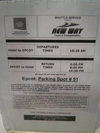 Fairfield Inn & Suites Orlando International Drive/Convention Center : Disney Shuttle Schedule