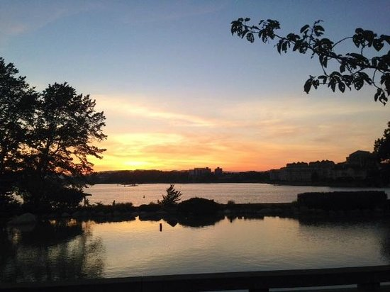 Inn at Laurel Point: Sunset from pond