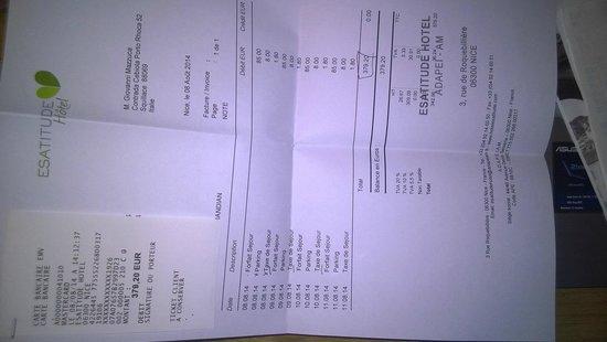Esatitude Hotel : ricevuta fiscale