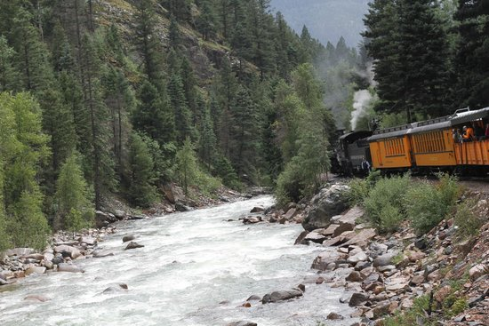 Durango and Silverton Narrow Gauge Railroad and Museum : A view from inside the train