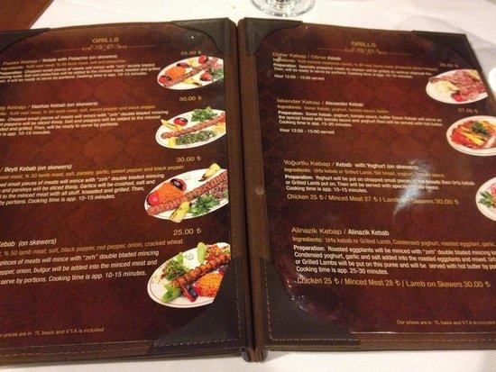 Hamdi Restaurant : Vasta scelta di kebap in menu