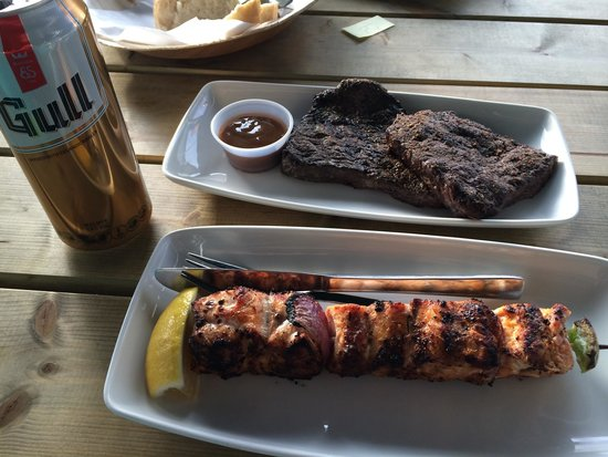 Saegreifinn - The Sea Baron : Minke whale steak, salmon kebabs and a local beer. PeTA and Green Peace may not approve but I ap