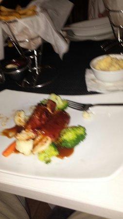 Taste of Belgium Restaurant: Chicken wrapped in ham with frites & stoempe aka mash potatoes