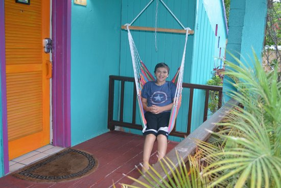 St. John Inn: Happy son outside our room