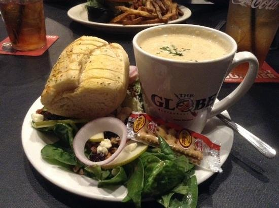 The Globe: cream of crab soup and harvest salad