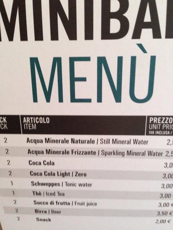 AC Hotel Pisa: Mini bar prices.... WHAT!?