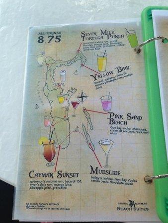 Grand Cayman Beach Suites: Seven Mile Beach Bar - Drink Menu
