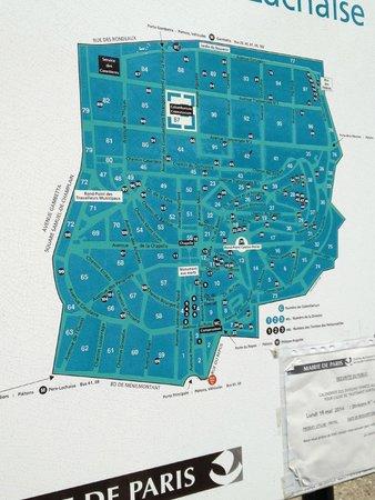 Cimetière du Père-Lachaise : Mapa do Cemitério