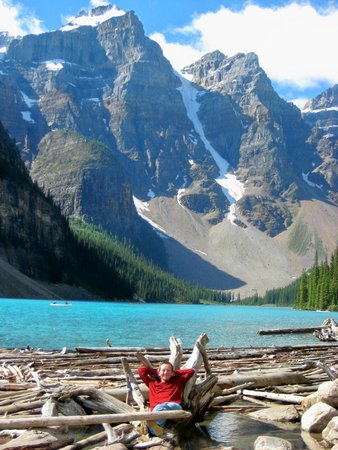 Moraine Lake: At the bottom where logs have washed up.