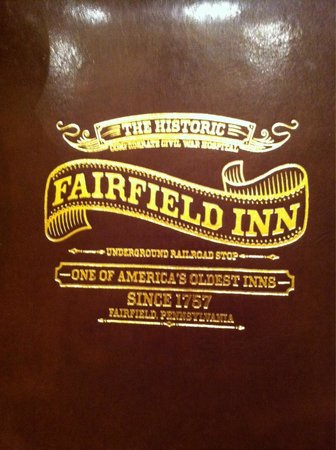 The Historic Fairfield Inn 1757: Menu front